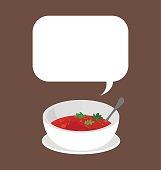 Bowl of fresh tomato soup.
