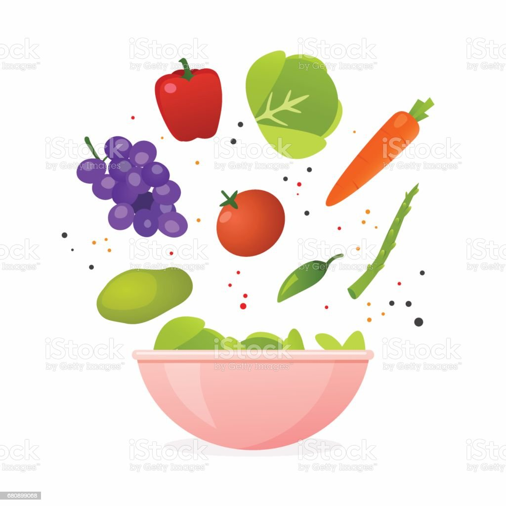 Bowl of fresh vegetable salad, healthy food. Flat design style modern vector illustration concept. vector art illustration