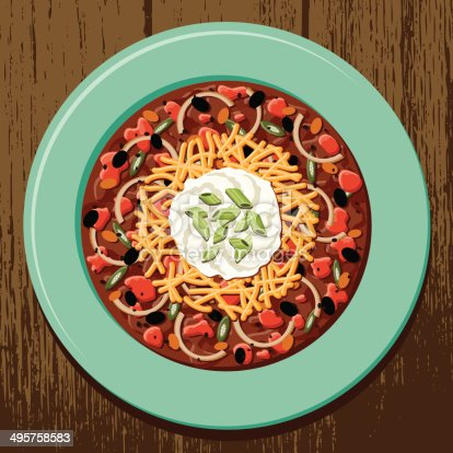 A bowl of chili with a dollop of sour cream and cheese on top. No gradients or transparencies used.
