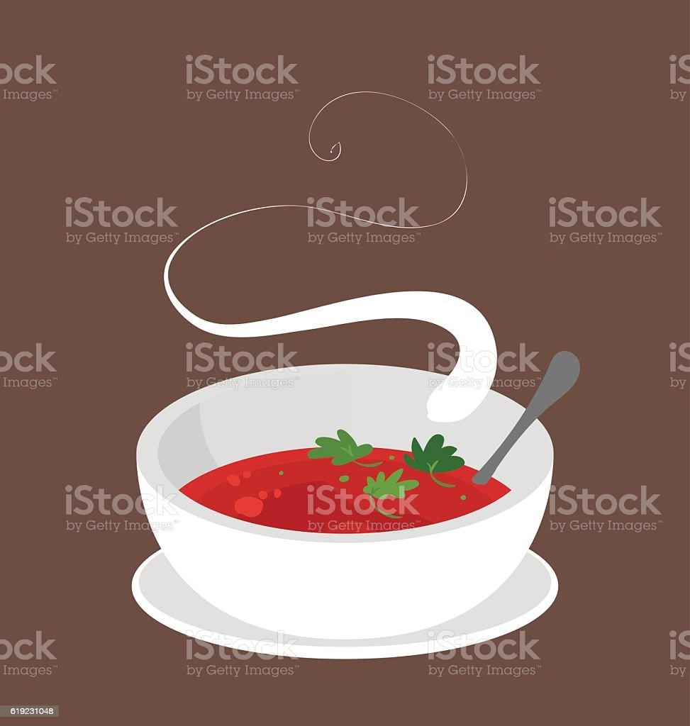 Bowl of hot tomato soup.