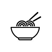 Bowl of noodles outline icon on white background