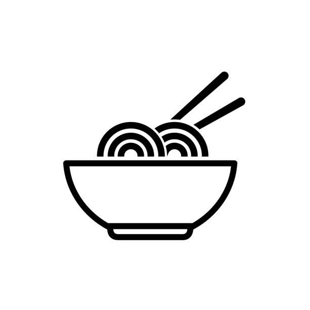 ilustrações de stock, clip art, desenhos animados e ícones de bowl of noodles outline icon on white background - tigela