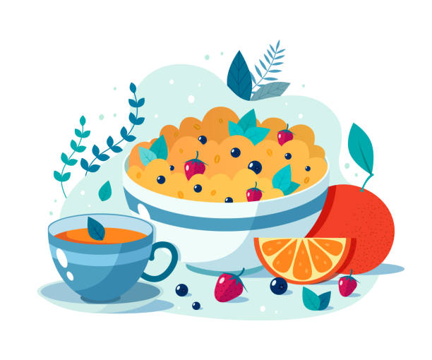 ilustrações de stock, clip art, desenhos animados e ícones de bowl of oatmeal with strawberries and blueberries cup of green tea. - muesli
