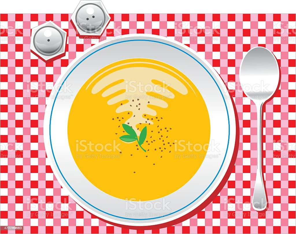 Bowl of Pumpkin Soup vector art illustration