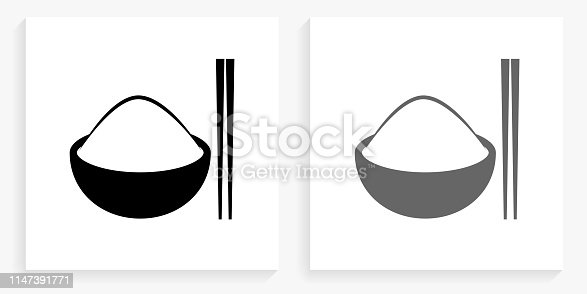 Bowl of Rice Black and White Square Icon. This 100% royalty free vector illustration is featuring the square button with a drop shadow and the main icon is depicted in black and in grey for a roll-over effect.