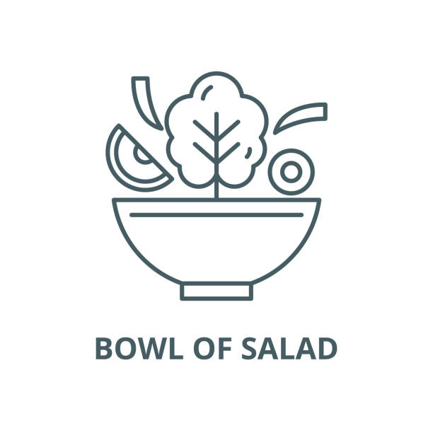 schüssel mit salatvektorlinie, lineares konzept, umrisszeichen, symbol - schüssel stock-grafiken, -clipart, -cartoons und -symbole