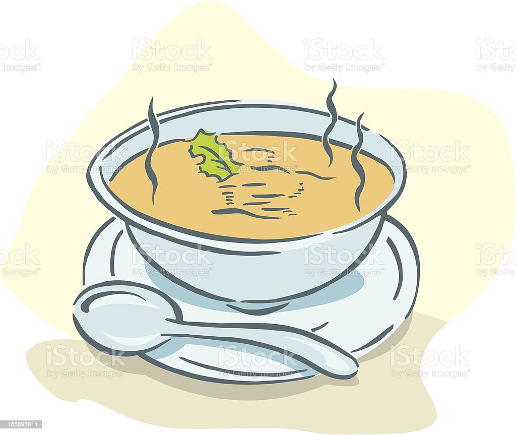 Bowl of Soup with Spoon vector art illustration
