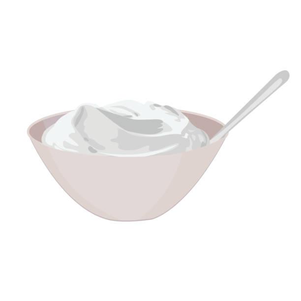 bildbanksillustrationer, clip art samt tecknat material och ikoner med skål med yoghurt vektorillustration - tandsten