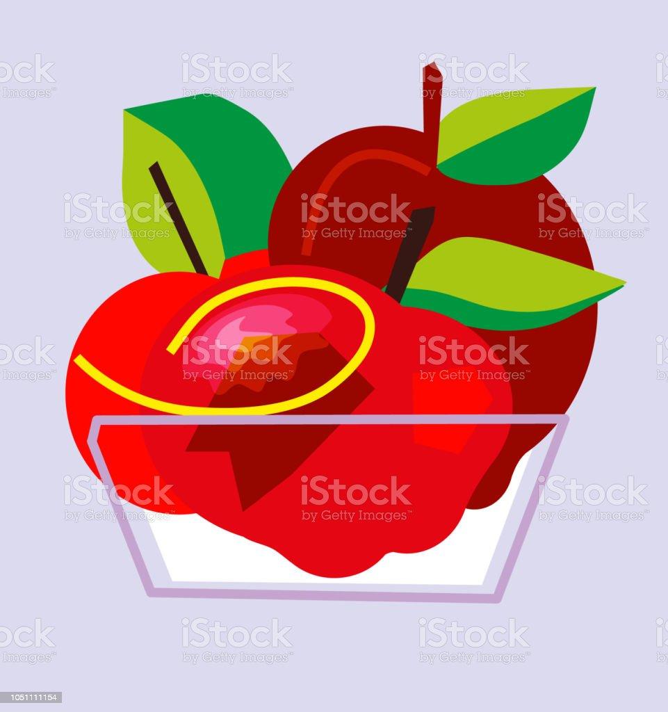 Kase kırmızı elma meyve. vektör sanat illüstrasyonu