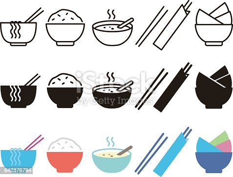 istock Bowl, rice, chopsticks and noodle 642376794