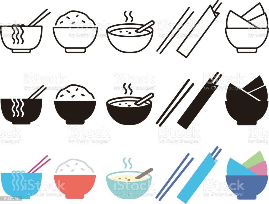 Bowl, rice, chopsticks and noodle vector art illustration