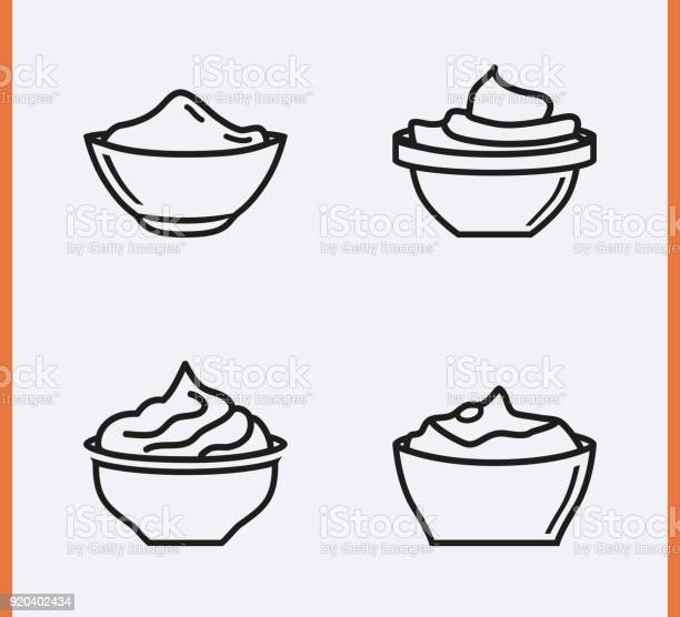 Bowl sauce for mayonnaise ketchup yogurt and cream icons vector id920402434?b=1&k=6&m=920402434&s=612x612&h=r mjcxhpscqo97wr toxeoudgvqfhmxzyyqasvmvwre=