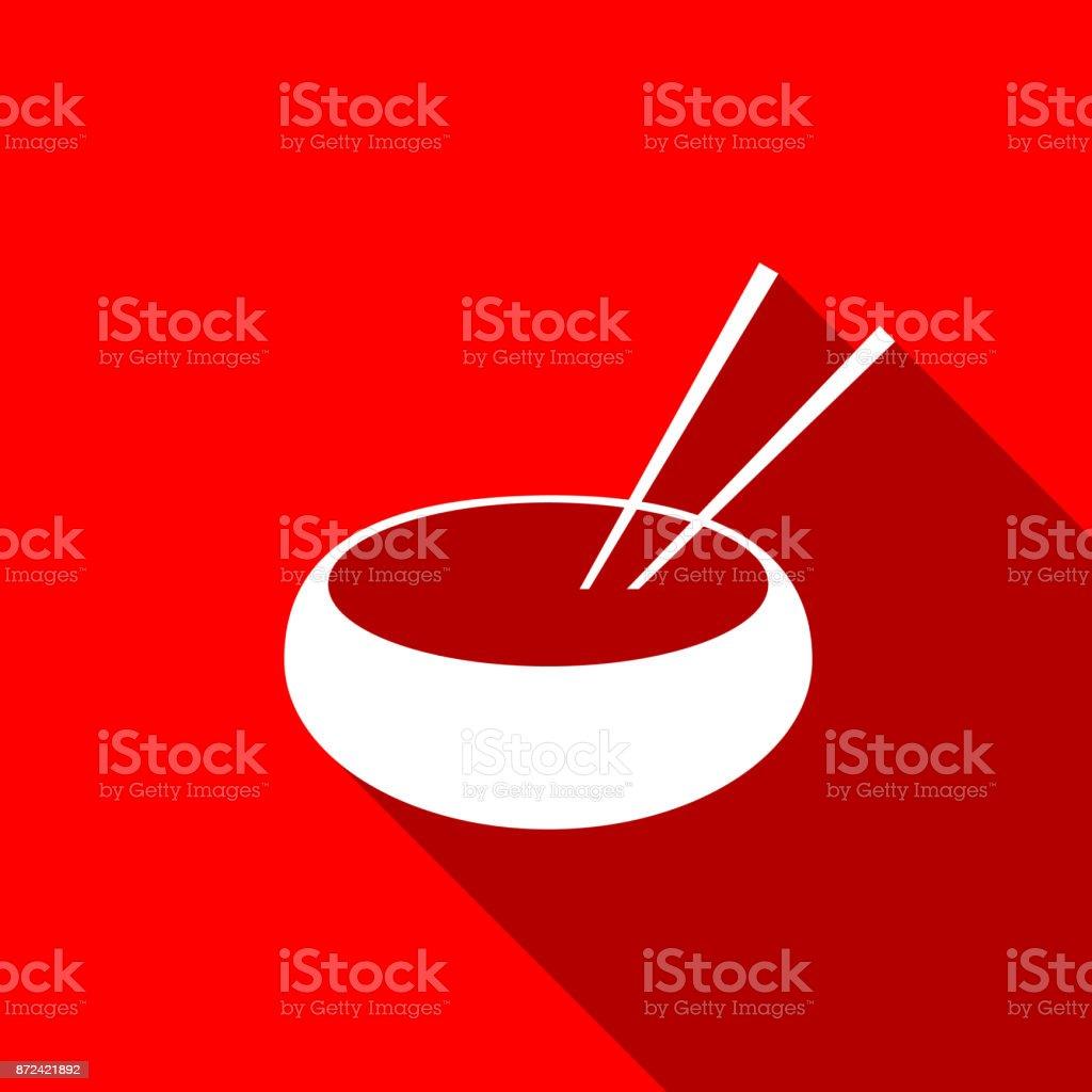 Cuenco con comida asiática y par del icono de la silueta de los palillos aislada con sombra. Concepto de preparación, dieta oriental. Diseño plano. Ilustración de vector - ilustración de arte vectorial