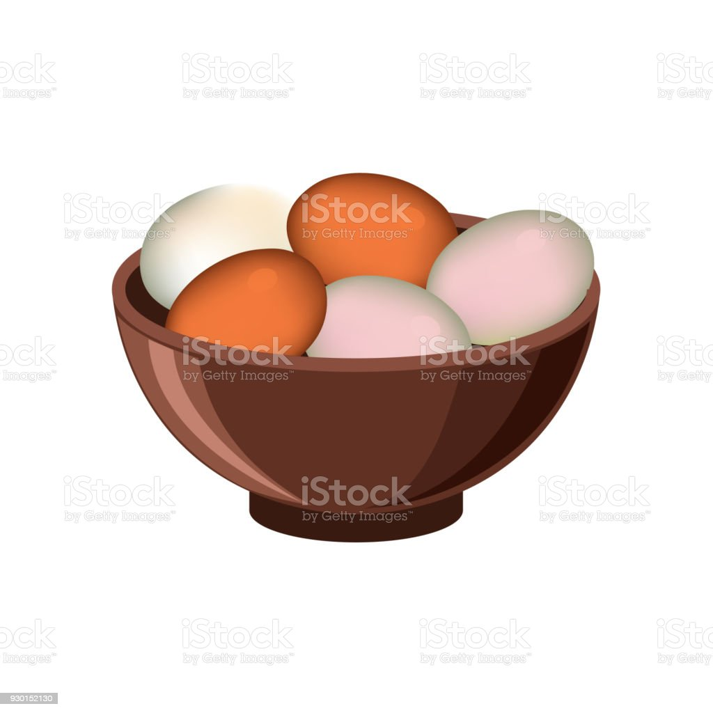 Bowl with eggs vector art illustration