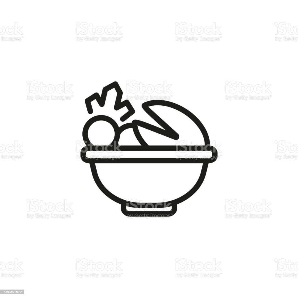 Bowl with escargot and vegetables line icon vector art illustration