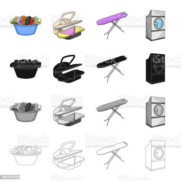 Ilustración De Un Tazón De Fuente Con Servicio De Lavandería Servicio De Planchado Máquina De Lavar