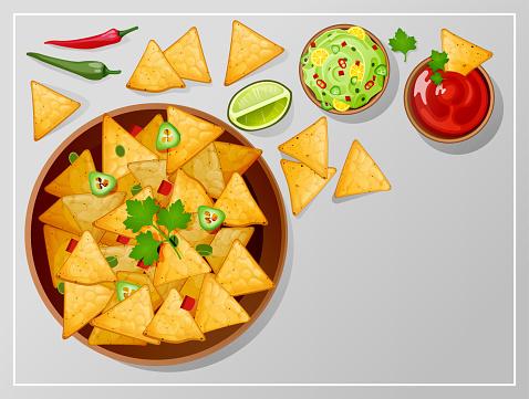 Bowl with nachos, salsa, guacamole or ranch sauces