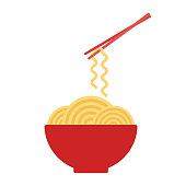 Bowl with ramen noodles. Chopsticks holding noodle. Korean, Japanese, Chinese food. Vector illustration