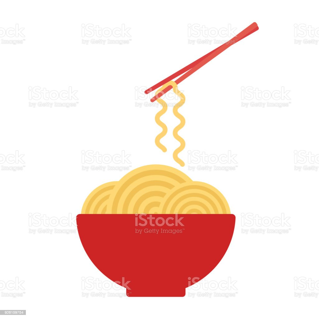 Bowl with ramen noodles. Chopsticks holding noodle. Korean, Japanese, Chinese food. Vector vector art illustration