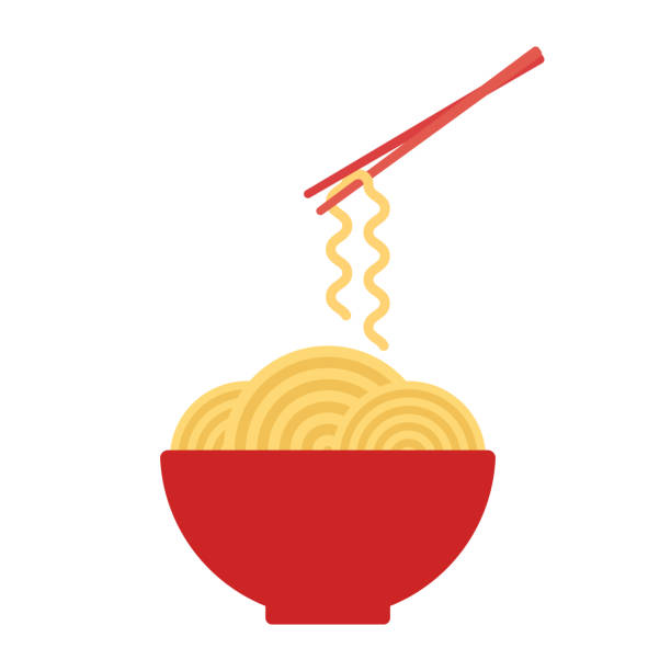 illustrazioni stock, clip art, cartoni animati e icone di tendenza di bowl with ramen noodles. chopsticks holding noodle. korean, japanese, chinese food. vector - pasta