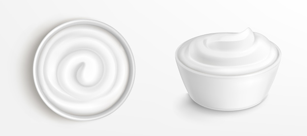 Bowl with sauce, cream top and front view clip art