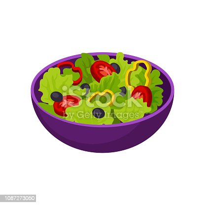 Purple bowl with vegetable salad. Natural and healthy food. Tasty vegetarian dish. Graphic element for cafe menu. Colorful isometric design. Flat vector illustration isolated on white background.