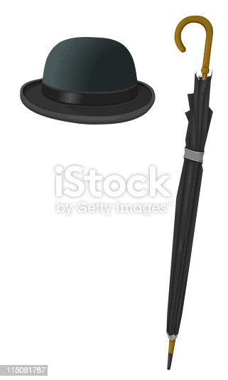 199d1fb4617 Bowler Hat And Umbrella Stock Vector Art   More Images of At The Edge Of  115081787