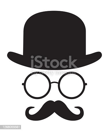 istock Bowler Hat Face 1268055561