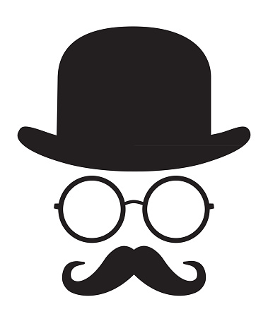 Vector illustration of a graphic black and white face with bowler hat, eyeglasses and handlebar mustache.
