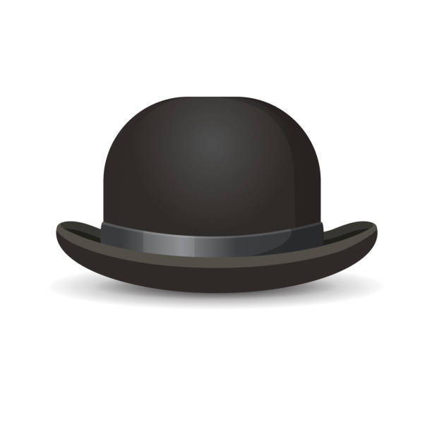 5db66279f24d6 Bowler hat in black color isolated on white vector art illustration