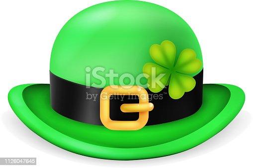 istock Bowler hat saint patrick day ireland feast 3d isolated vintage design vector illustration 1126047645