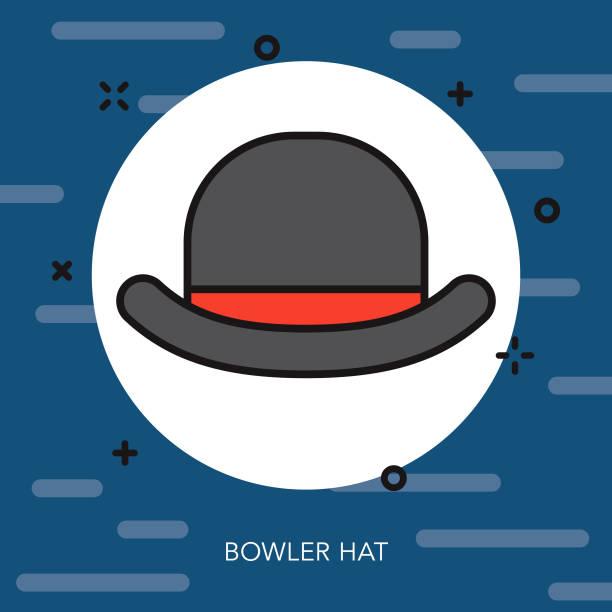 ボウラー ハット細い線イギリス アイコン - 細線のフォント点のイラスト素材/クリップアート素材/マンガ素材/アイコン素材