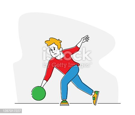 istock Bowler Male Character Wearing Casual Clothing Throw Ball in Bowling Alley. Professional Player Sport Game Competition 1257017227