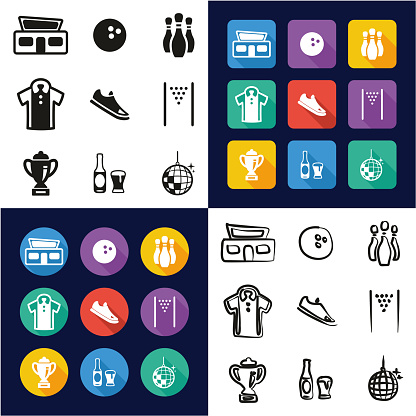 Bowling All in One Icons Black & White Color Flat Design Freehand Set