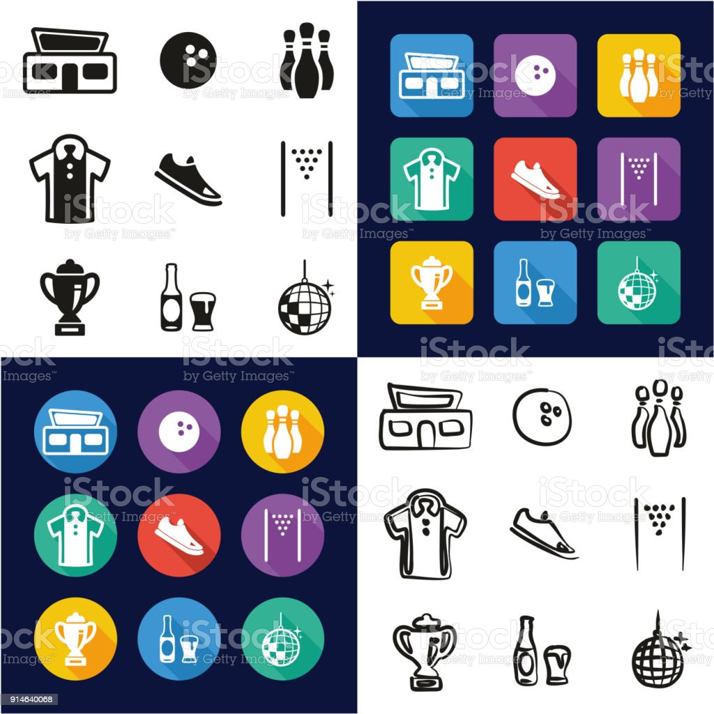 Bowling All in One Icons Black & White Color Flat Design Freehand Set vector art illustration