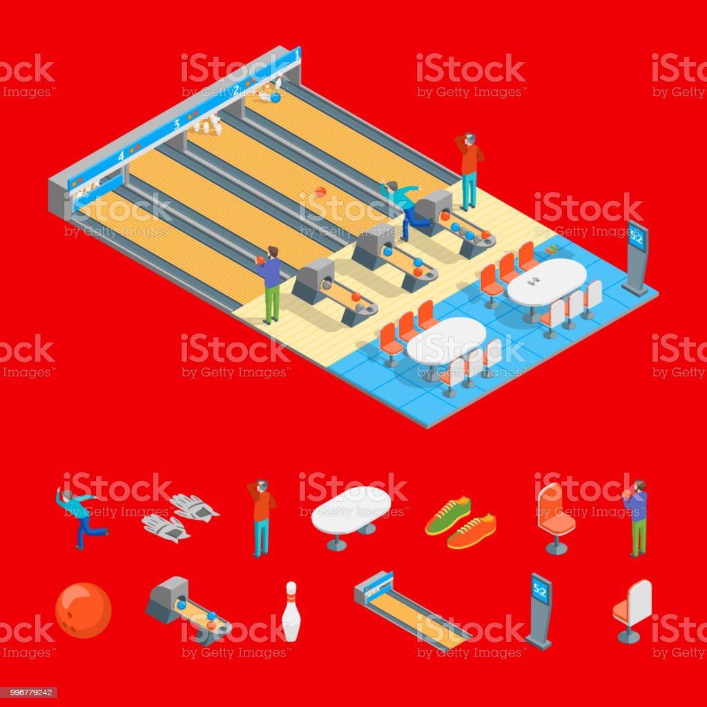 Bowling Alley and Elrments Isometric View. Vector vector art illustration