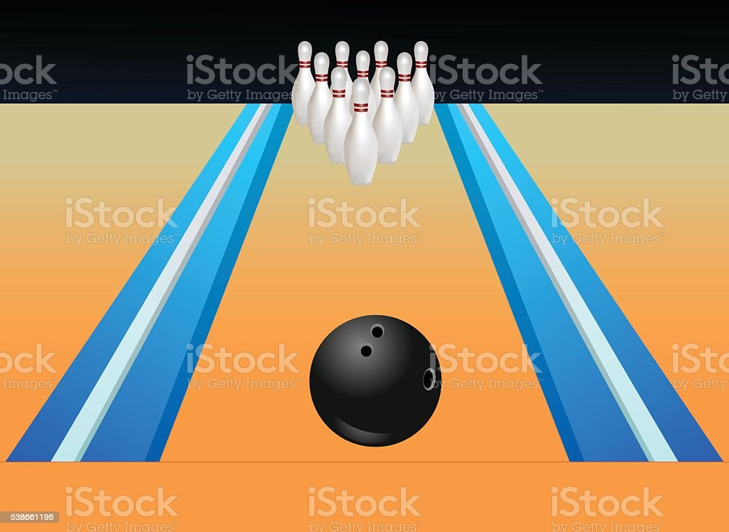 Bowling Alley vector art illustration