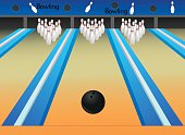 Bowling  Alley is separate layered and easy to edit