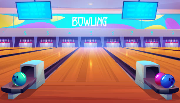 Bowling alleys with balls, pins and scoreboards vector art illustration