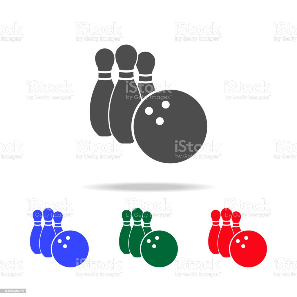 Bowling and bowling ball icons. Elements of sport element in multi...