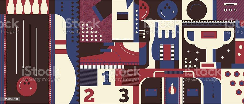 Bowling background concept vector art illustration
