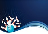 Vector illustration of the bowling pins & ball on the wave background with copy space.