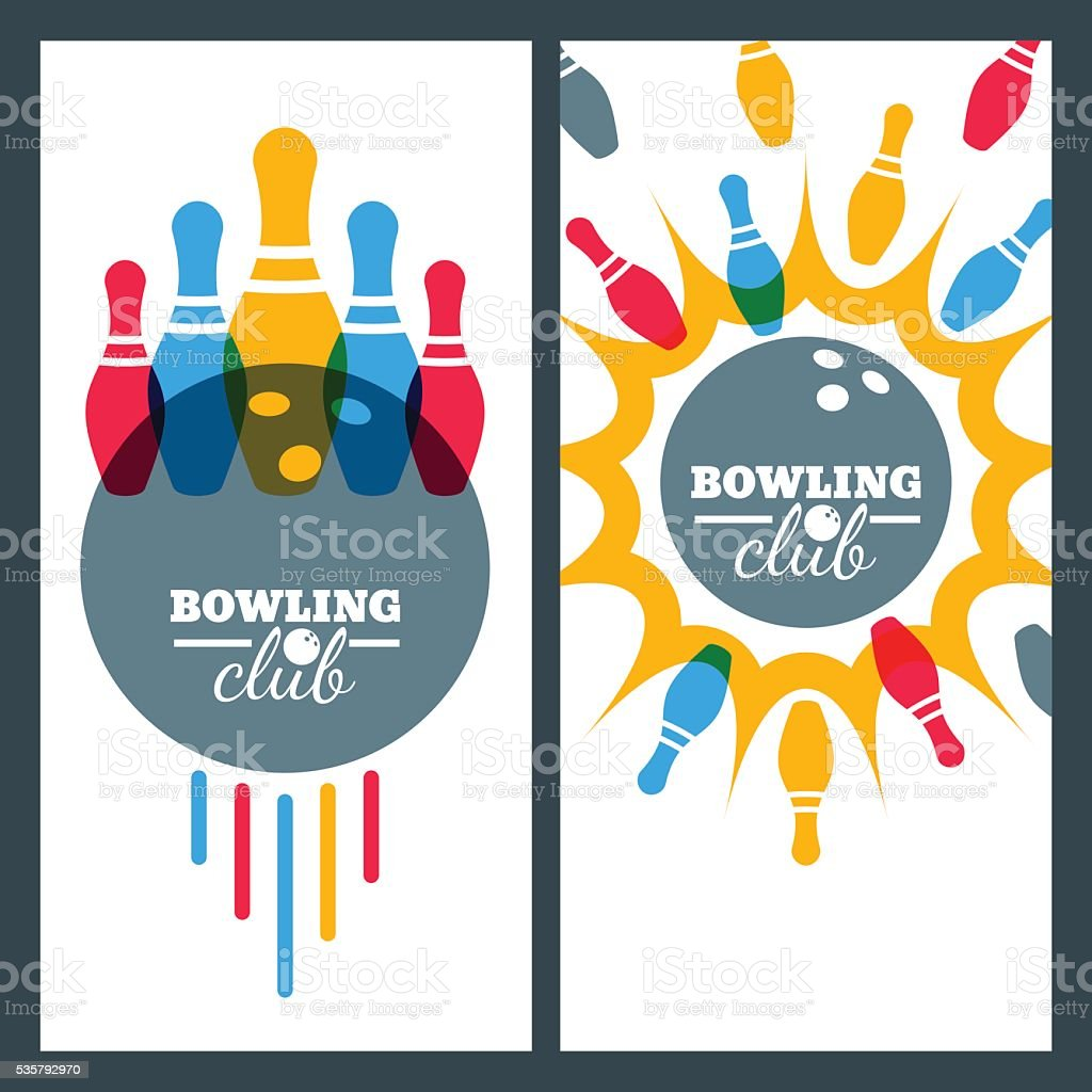 Bowling backgrounds and isolated elements for banner, poster, flyer design. vector art illustration