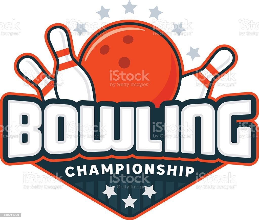 bowling badge logo stock vector art more images of aiming rh istockphoto com bowling logos designs bowling logos for shirts
