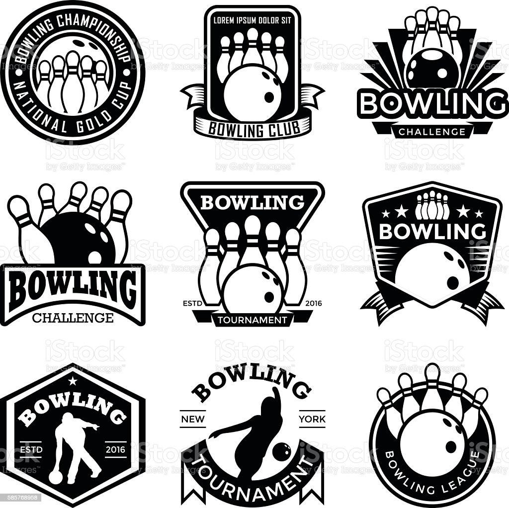 Bowling Badges vector art illustration