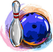 Drawing of Bowling ball and bowling pin. Elements are grouped.contains eps10 and high resolution jpeg.