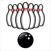 Bowling Ball and Bowling Pins Illustration Vector. Easy To Edit