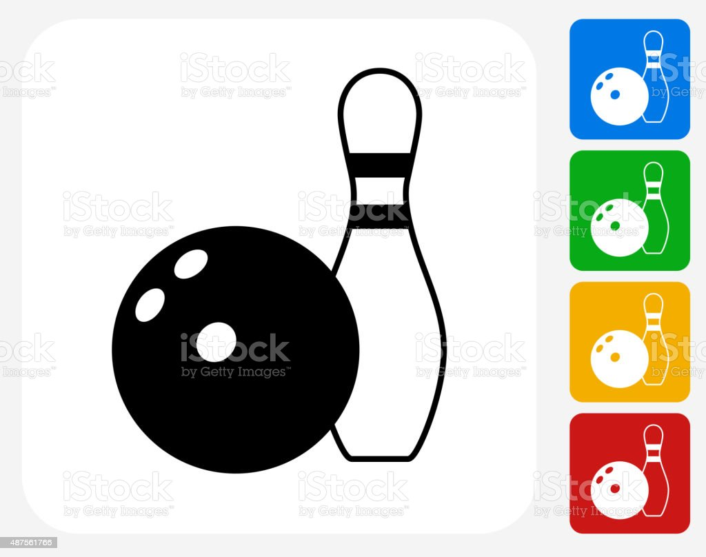 Download Bowling Ball And Pin Icon Flat Graphic Design Stock ...