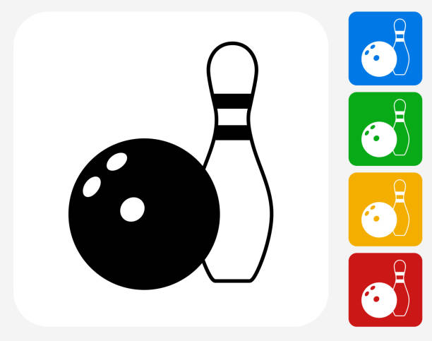 Bowling Ball and Pin Icon Flat Graphic Design vector art illustration