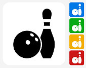 Bowling Ball and Pin Icon. This 100% royalty free vector illustration features the main icon pictured in black inside a white square. The alternative color options in blue, green, yellow and red are on the right of the icon and are arranged in a vertical column.